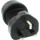 InLine Power Adapter, black,  UK/Malta plug male to CEE7/7 female, with 5A fuse