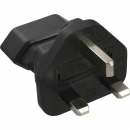 InLine Power Adapter, black,  UK plug to Euro socket, with 3A fuse