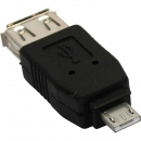 InLine Micro USB Adapter, black,  Micro A Male to USB A Female
