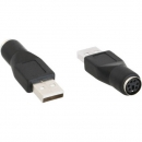 InLine USB PS/2 Adapter, black,  USB A Male to PS/2 Female