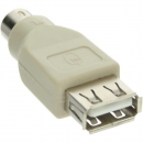 InLine USB PS/2 Adapter, black,  USB A Female to PS/2 Male