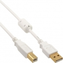 InLine USB 2.0 Cable, white, 3.0m,  A Male to B Male, gold plated, with ferrite core
