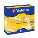 Verbatim DVD+RW 4x, 4.7GB, Jewel Case, 5-pack
