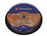Verbatim DVD-R 16x, 4.7GB, Spindle, 10-pack