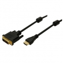 LogiLink HDMI Adapter Cable, black, 2.0m  HDMI Male to DVI-D (18+1) Male, gold-plated