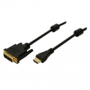 LogiLink HDMI Adapter Cable, black, 5.0m  HDMI Male to DVI-D (18+1) Male, gold-plated