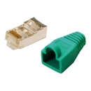 LogiLink CAT5E RJ45 Plug Connector, shielded,  with green boot, for round stranded cable, 100-pack