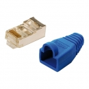 LogiLink CAT5E RJ45 Plug Connector, shielded,  with blue boot, for round stranded cable, 100-pack