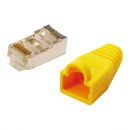LogiLink CAT5E RJ45 Plug Connector, shielded,  with yellow boot, for round stranded cable, 100-pack
